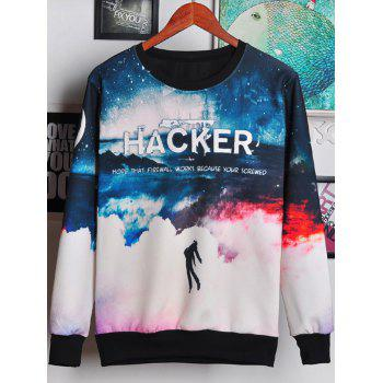 Round Neck Long Sleeve 3D Ombre Sky and Letters Print Men's Sweatshirt