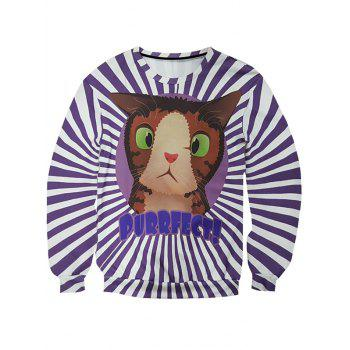 Round Neck Long Sleeve 3D Cartoon Cat and Stripe Print Men's Sweatshirt