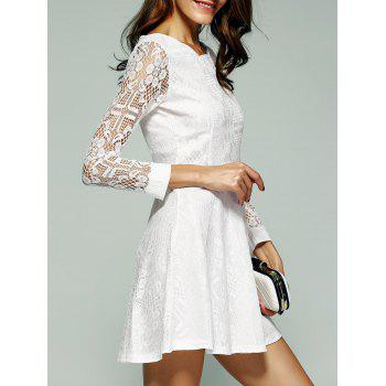 Lace Sleeve Scalloped Neck Skater Dress