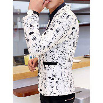 Ancient Letter Print Lapel Collar Long Sleeves Blazer For Men