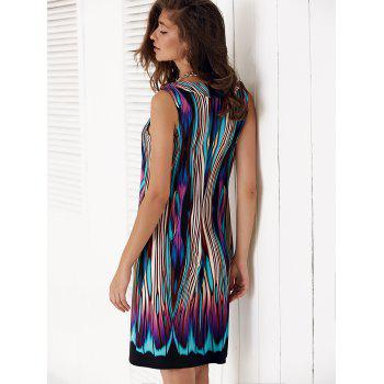 Sleeveless Multi Color Knee Length Shift Dress - COLORMIX S