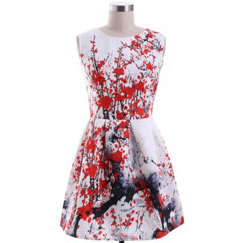 Chic Sleeveless Round Neck Plum Blossom Print Women's Dress