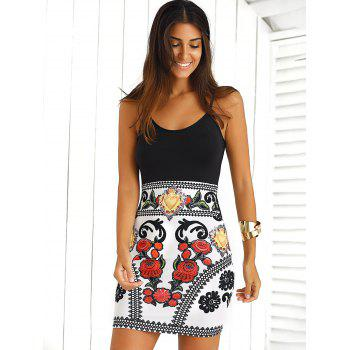 Color Block Floral Sleeveless Mini Bodycon Dress - BLACK AND WHITE AND RED L