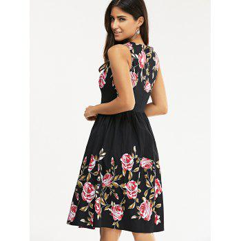 Retro Rose Flower Print manches Robe patineuse - Noir S