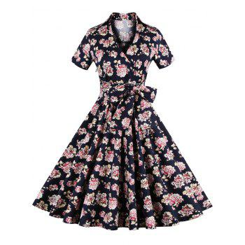 Vintage Tie-Waist Floral Print Women's Dress