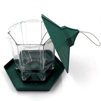 High Quality Prorable Lucency Hang Six Sides Pet Bird Feeder Supplies -  GREEN