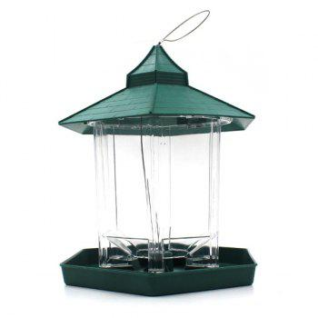 High Quality Prorable Lucency Hang Six Sides Pet Bird Feeder Supplies - GREEN GREEN