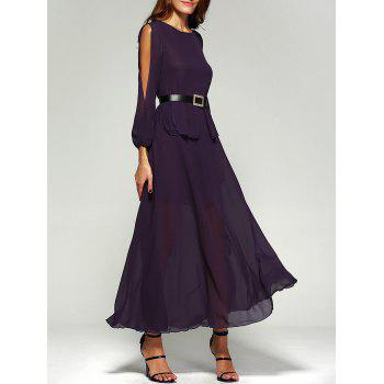 Chiffon Split Sleeve Long Swing Evening Dress