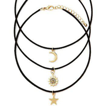 Retro Style Moon Star Sun Layered Necklace Set - GOLDEN