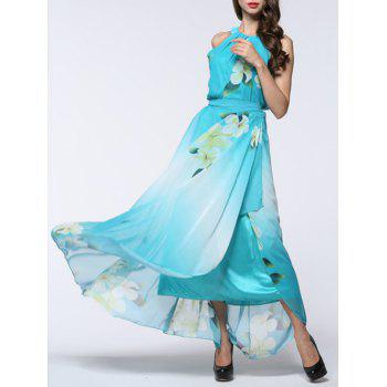 Floral Print Asymmetric Chiffon Flowing Dress