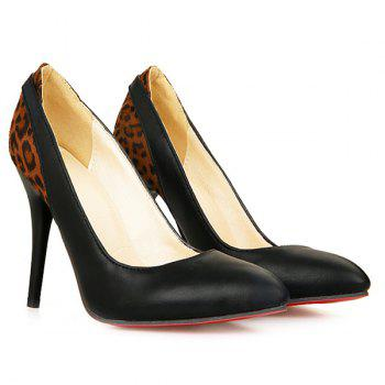 Fashionable Color Block and Leopard Printed Design Women's Pumps - BLACK 39