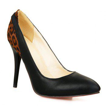 Fashionable Color Block and Leopard Printed Design Women's Pumps - 39 39