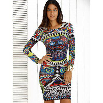 Tattoo Print Long Sleeve Bodycon Dress