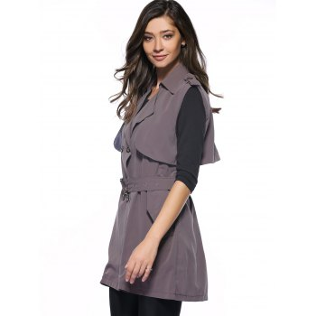 Graceful Belted Double-Breasted Flounce Long Waistcoat - DEEP GRAY DEEP GRAY