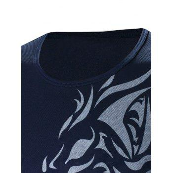 Round Neck Tattoo Style Tiger Print Long Sleeve Men's T-Shirt - CADETBLUE M