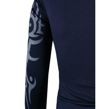 2018 Round Neck Tattoo Style Tiger Print Long Sleeve Men S