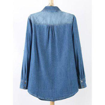 Plus Size Chic Stud Embellished Denim Tunic Shirt - BLUE L
