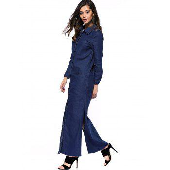 Denim Long Sleeve Shirt Maxi Dress - DEEP BLUE 2XL
