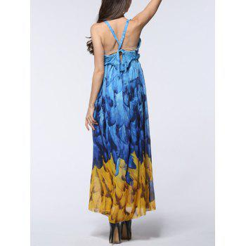 Feather Print Backless Chiffon Maxi Beachwear Dress - Bleu et Jaune 6XL