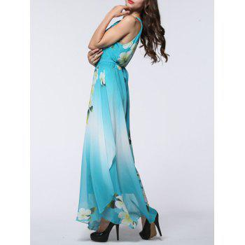 Boho Floral Maxi Chiffon Flowy Beach Dress - LIGHT BLUE 4XL