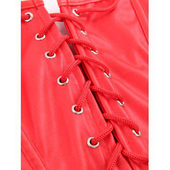 Stunning Lace Up Faux Leather Lacework Corset With G-String - RED 5XL