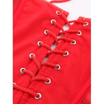 Stunning Lace Up Faux Leather Lacework Corset With G-String - RED 6XL