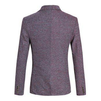 Chic Texture Design Lapel Collar Long Sleeves Red Melange Blazer For Men - DARK RED L