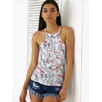 Chic Printing Spaghetti Straps Top For Women - WHITE XL