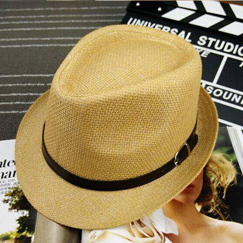 Trendy Belt Decorated Solid Color Sun Hat For Men and Women - KHAKI