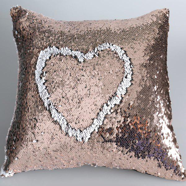 DIY Shiny Sequins Two Color Cushion Cover Pillow Case - ROSE GOLD/WHITE