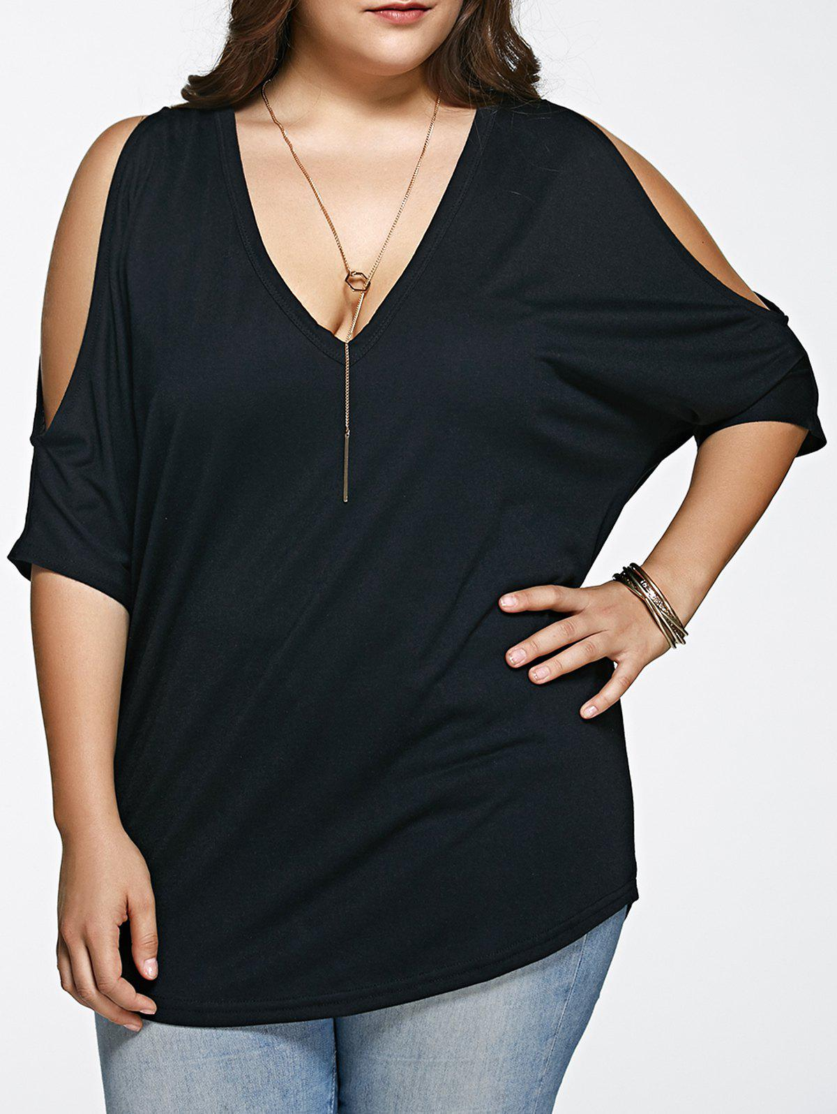 Plus Size Loose Fitting Cold Shoulder T-Shirt - BLACK 3XL
