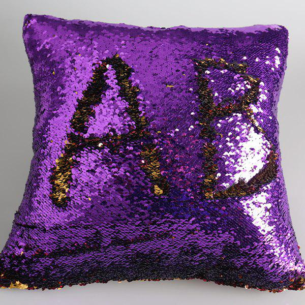 DIY Pattern Two Tone Bling Sequins Pillow Case - PURPLE