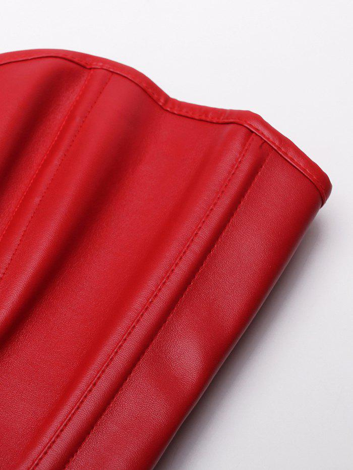 Trendy Faux Leather Zippered Women's Corset - RED 2XL