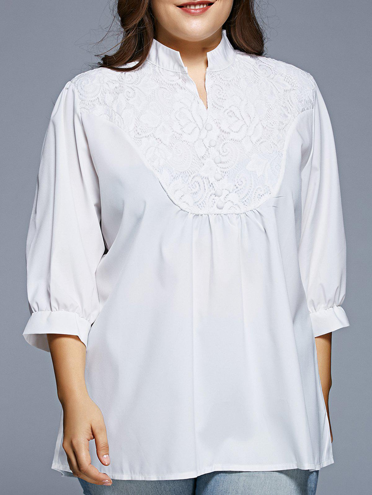Women's Grace Lace Splicing  1/2 Sleeve Plus Size Blouse - WHITE M