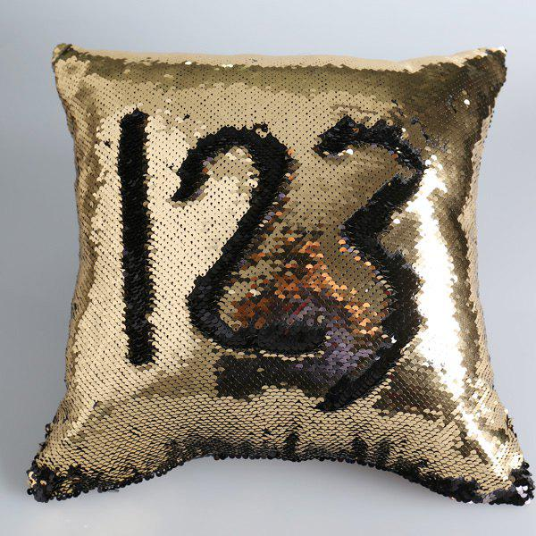 Double Color Sequins DIY Pattern Throw Pillow Case - BLACK/GOLDEN