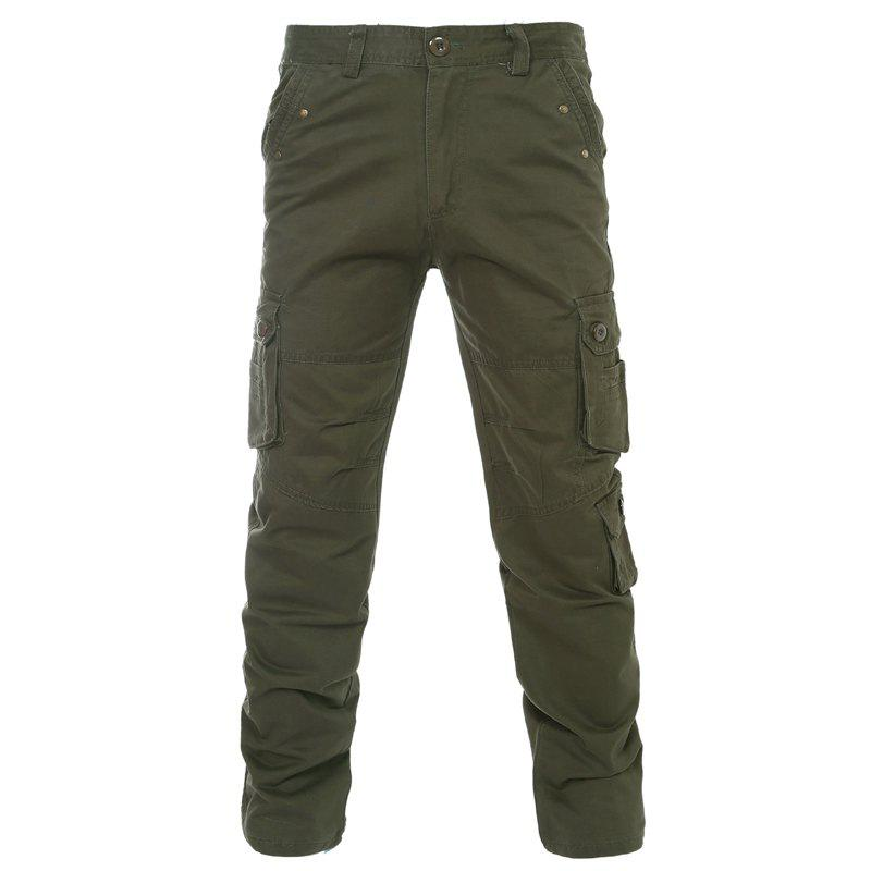 Slimming Solid Color Zipper Fly Straight Leg Men's Pants - ARMY GREEN 36