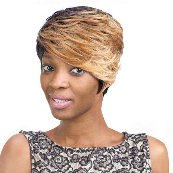 Women's Mixed Color Short Fluffy Curly Side Bang Fashion Synthetic Hair Wig -  COLORMIX