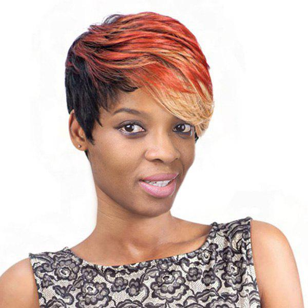 Women's Short Fluffy Side Bang Fashion Mixed Color Synthetic Hair Wig