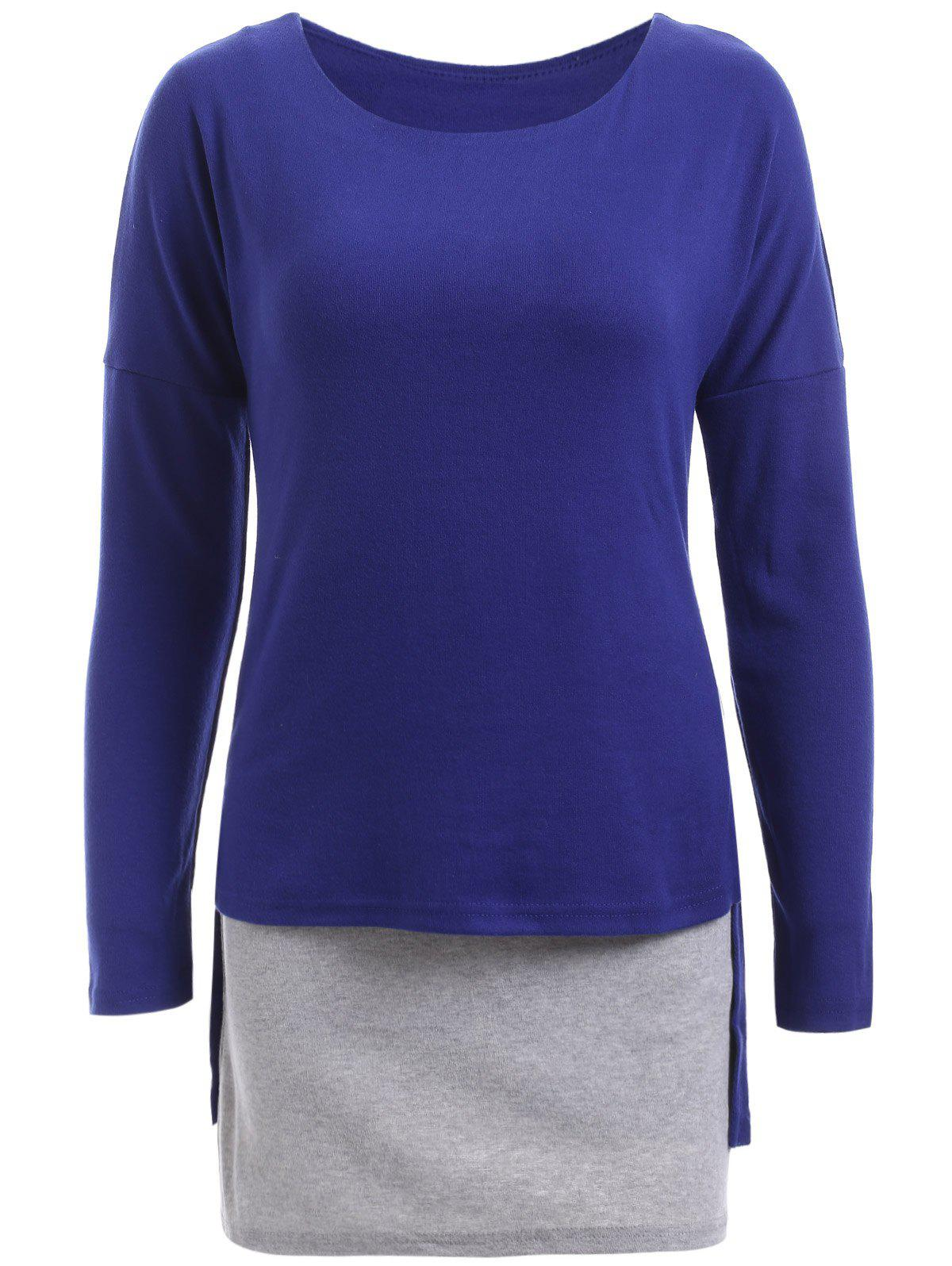 Fashionable Hit Color Faux Two-Piece Top For Women