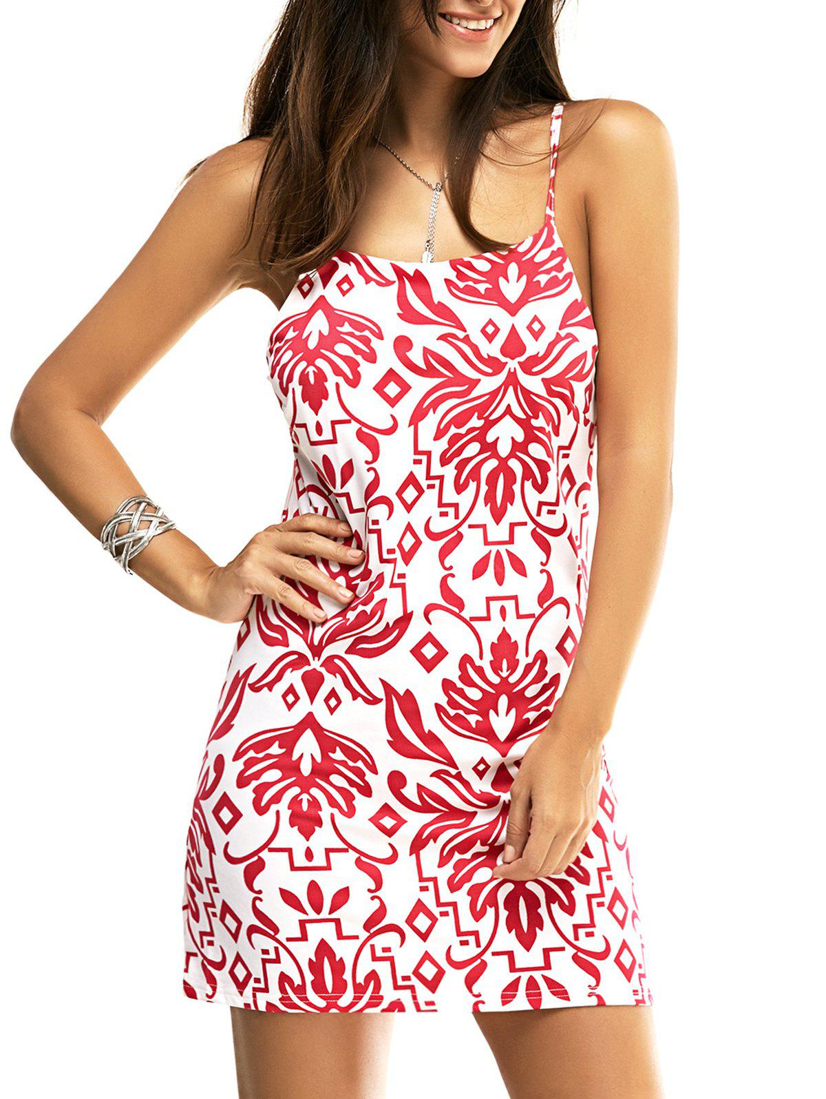 Fashion Spaghetti Strap Paisley Floral Print Mini Dress - RED/WHITE XL