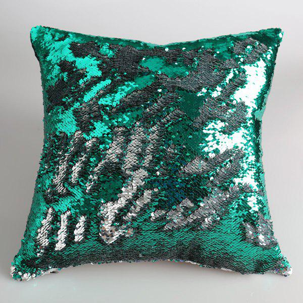 Exquisite DIY Green and Silver Sequins Embellished Sofa Pillow Case