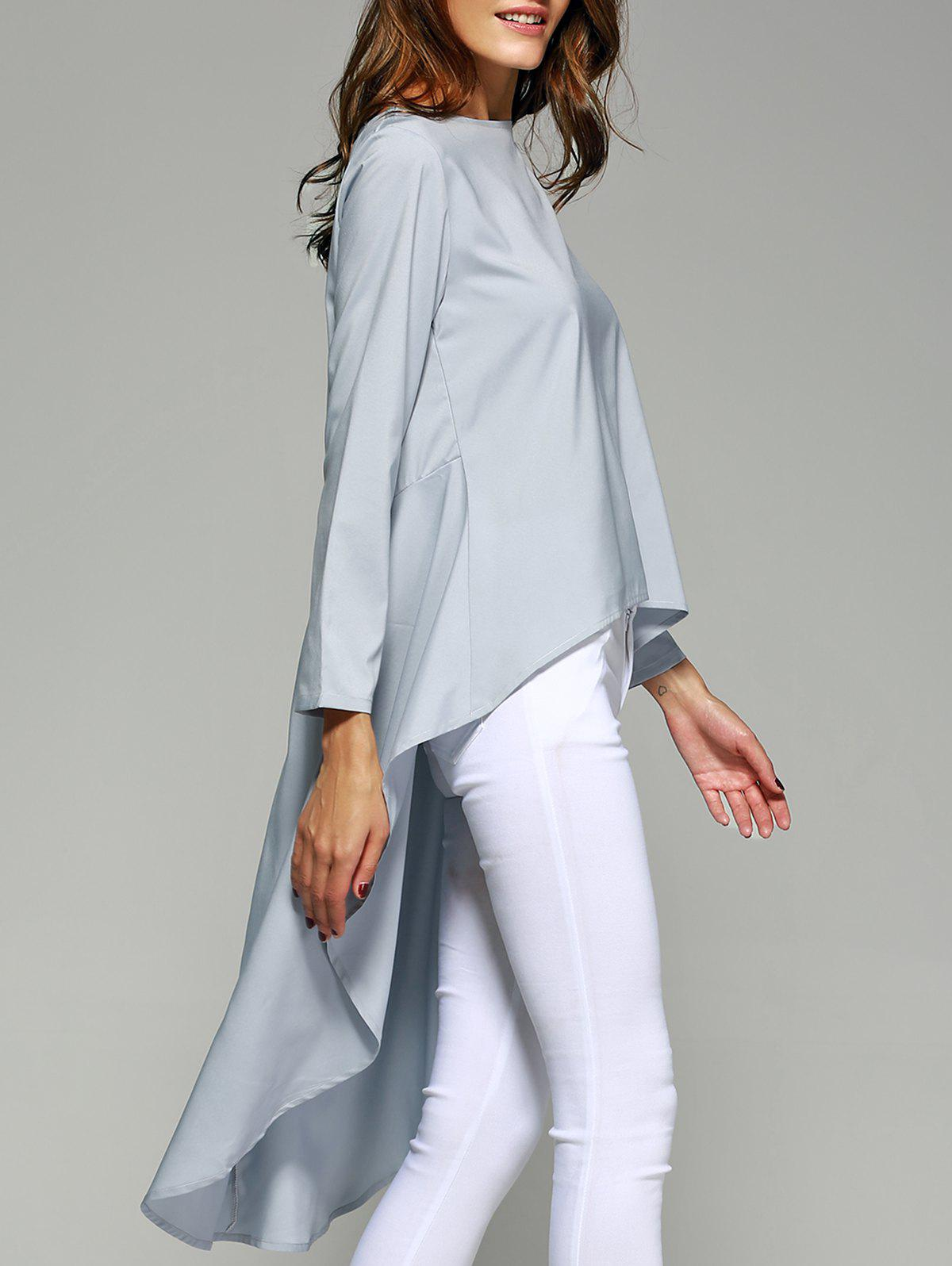 Stylish Pure Color High Low Top For Women - LIGHT BLUE XL