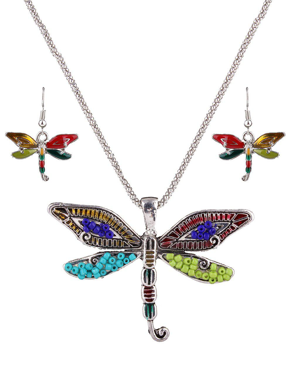 Multicolored Beads Dragonfly Jewelry Set - SILVER