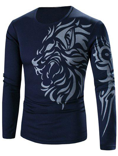 Round Neck Tattoo Style Tiger Print Long Sleeve Men's T-Shirt - CADETBLUE 3XL
