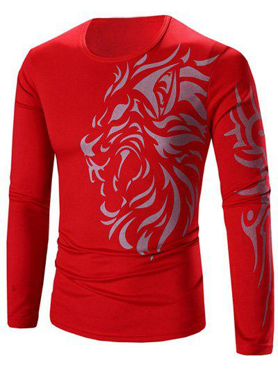 цена на Round Neck Tattoo Style Tiger Print Long Sleeve Men's T-Shirt