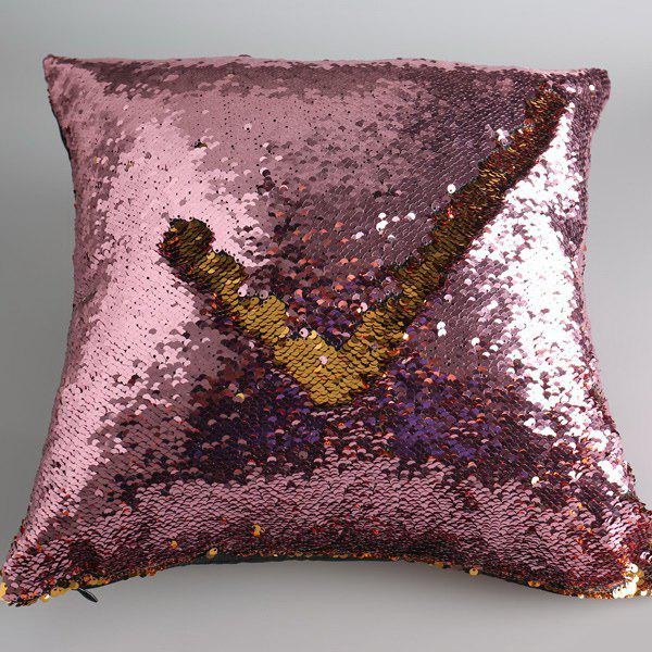 DIY Pattern Bling Mermaid Sequins Sofa Pillow Case - GOLD/PINK