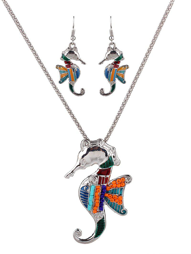 Delicate Enamel Multicolor Beads Sea Horse Necklace Set For Women