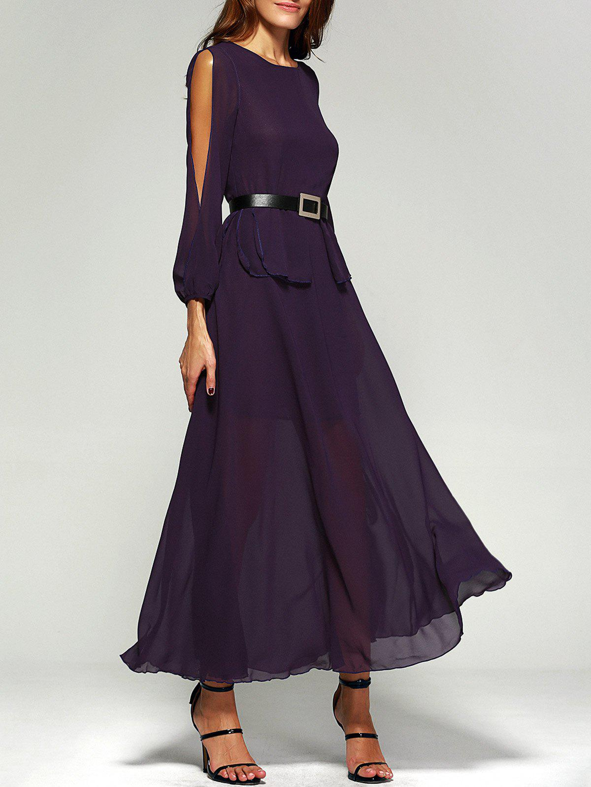 Hollow Out Splicing Pleated Chiffon Maxi Dress with Sleeves - PURPLE XL