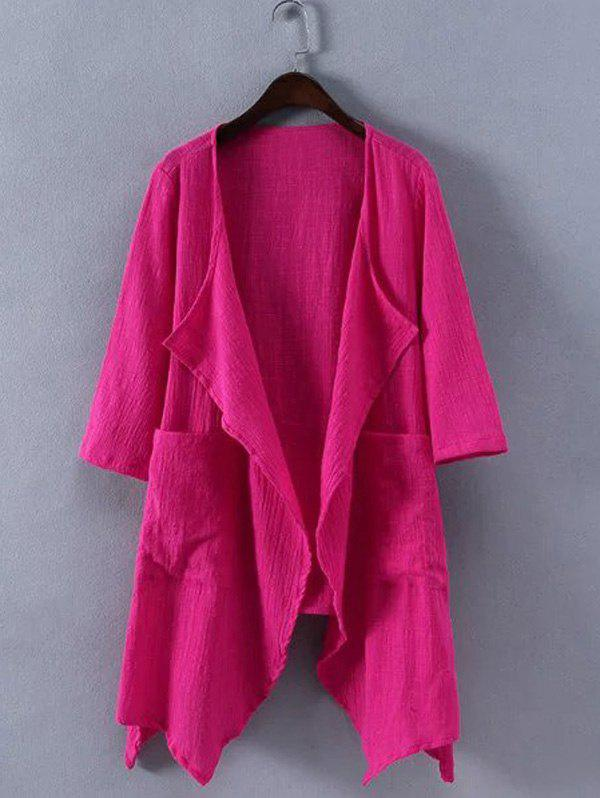 Plus Size Brief Turn-Down Collar Cardigan - ROSE RED 4XL