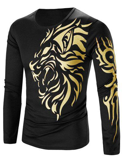 цена на Round Neck Tattoo Style Golden Tiger Print Long Sleeve Men's T-Shirt